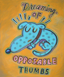 Humorous dog print Dreaming of Opposable Thumbs by greater Boston area artist Hal Mayforth