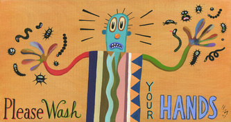 Humorous Health Print Please Wash Your Hands by greater Boston area artist Hal Mayforth