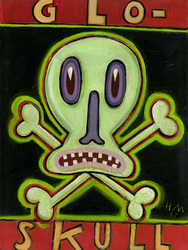 Humorous print Glo Skull by greater Boston area artist Hal Mayforth