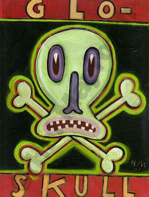Humorous print Glo-Skull by greater Boston artist Hal Mayforth